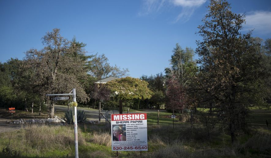 "FILE - In this Nov. 10, 2016 file photo, a ""missing"" sign for Sherri Papini, 34, appears along Sunrise Drive, in Mountain Gate, Calif., near the location where the mother of two is believed to have gone missing while on a afternoon jog on Nov. 2. Police say Papini has been found safe and is in stable condition. She is receiving medical attention at an undisclosed hospital. (Andrew Seng/The Sacramento Bee via AP,File)"