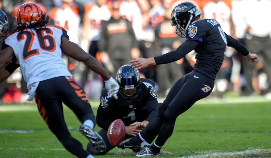 Baltimore Ravens kicker Justin Tucker has made 34 field goals in a row including four on Sunday in a 19-14 win over Cincinnati. (Associated Press)