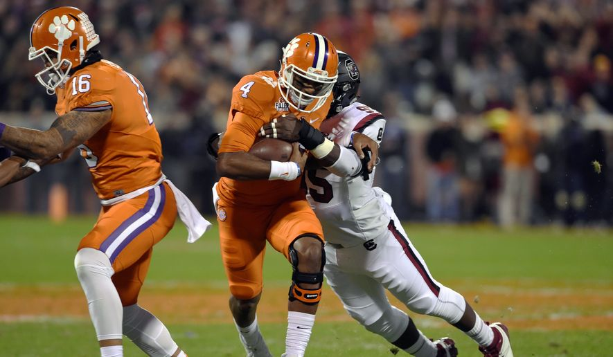 Clemson's Deshaun Watson tied his career high of six touchdowns in Saturday's win over South Carolina. Clemson next faces Virginia Tech in the ACC title game. (Associated Press)