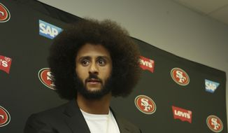 San Francisco 49ers quarterback Colin Kaepernick speaks during a post-game news conference at the end of an NFL football game, Sunday, Nov. 27, 2016, in Miami Gardens, Fla. The Dolphins defeated the 49ers 31-24. (AP Photo/Lynne Sladky)