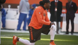 Cleveland Browns quarterback Robert Griffin III practices before an NFL football game against the New York Giants, Sunday, Nov. 27, 2016, in Cleveland. (AP Photo/Ron Schwane)