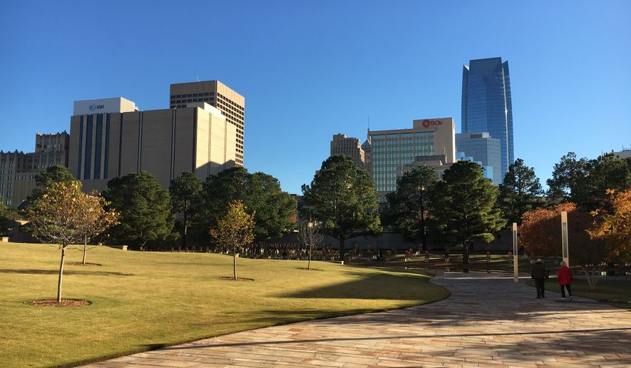 The Oklahoma City skyline, as seen from the Oklahoma City National Memorial & Museum, the site of the 1995 bombing.  (Eric Althoff/The Washington Times)