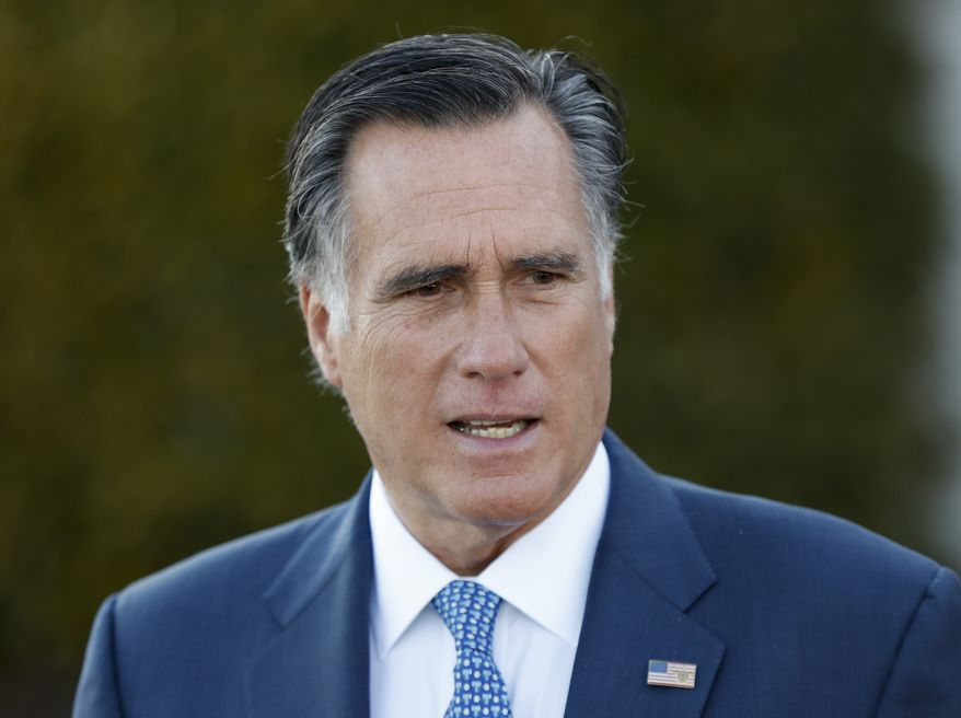 FILE - In this Saturday, Nov. 19, 2016, file photo, Mitt Romney talks to media after meeting with President-elect Donald Trump at Trump National Golf Club Bedminster in Bedminster, N.J. Kellyanne Conway, a top Trump adviser warned Sunday, Nov. 27, that the president-elects supporters would feel betrayed if he tapped Romney as secretary of state, a move that would put a fierce Trump critic in a powerful Cabinet post. (AP Photo/Carolyn Kaster, File)