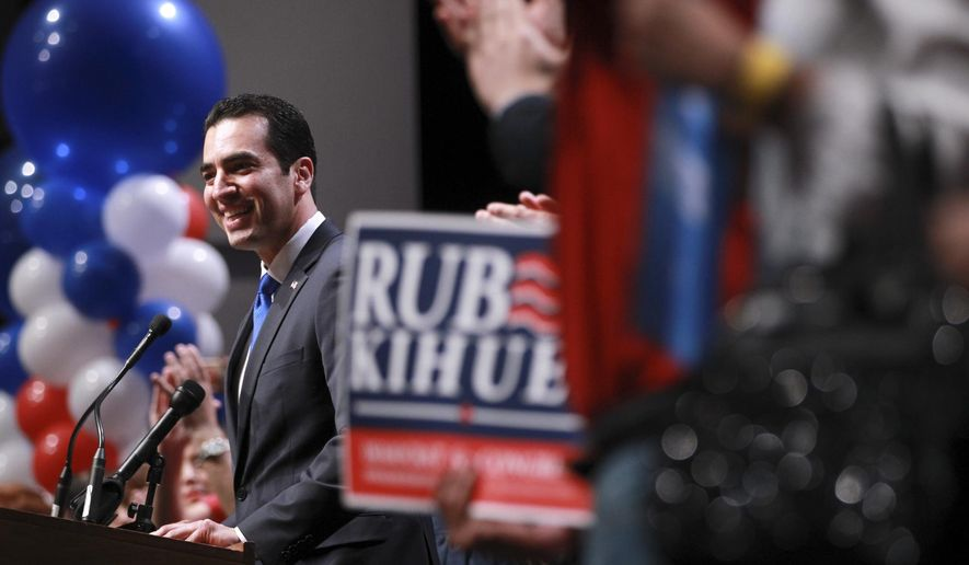 "FILE - In this Nov. 8, 2016, file photo, Rep. Ruben Kihuen, D-Nev., speaks to supporters after his victory at an election watch party in Las Vegas. Nevada has become an election case study for Democrats after it went blue while much of the country went red. The purest success story for the ""Reid machine"" is Kihuen, a Mexican immigrant and son of a casino housekeeper who unseated an incumbent Republican congressman with help from heavy-hitting fans, Sen. Harry Reid, Bill Clinton and the formidable, highly immigrant Culinary Union that represents casino workers like his mom. (AP Photo/Chase Stevens, File)"