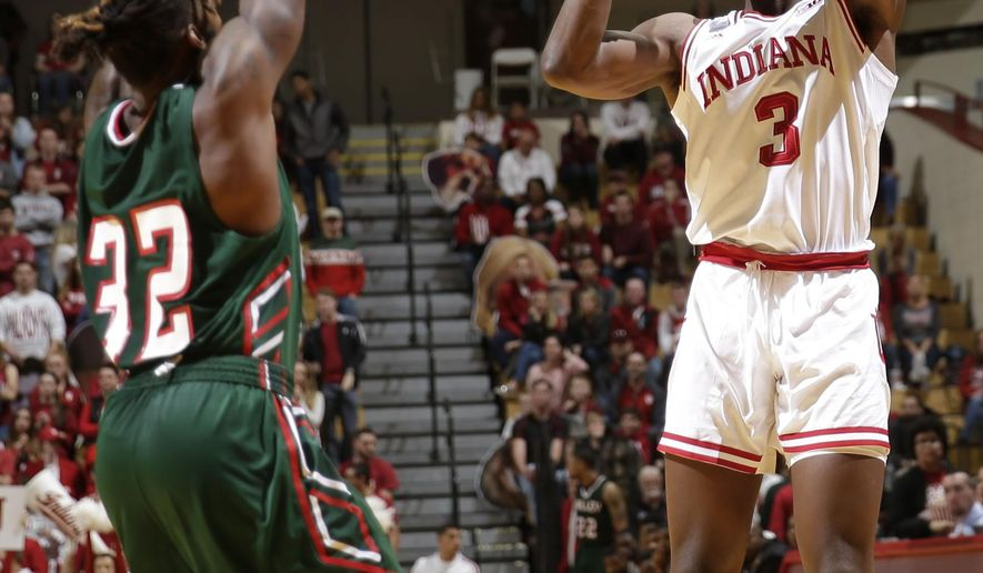 Indiana forward OG Anunoby (3) shoots over Mississippi Valley State forward Amos Given (32) in the second half of an NCAA college basketball game in Bloomington, Ind., Sunday, Nov. 27, 2016. (AP Photo/AJ Mast)