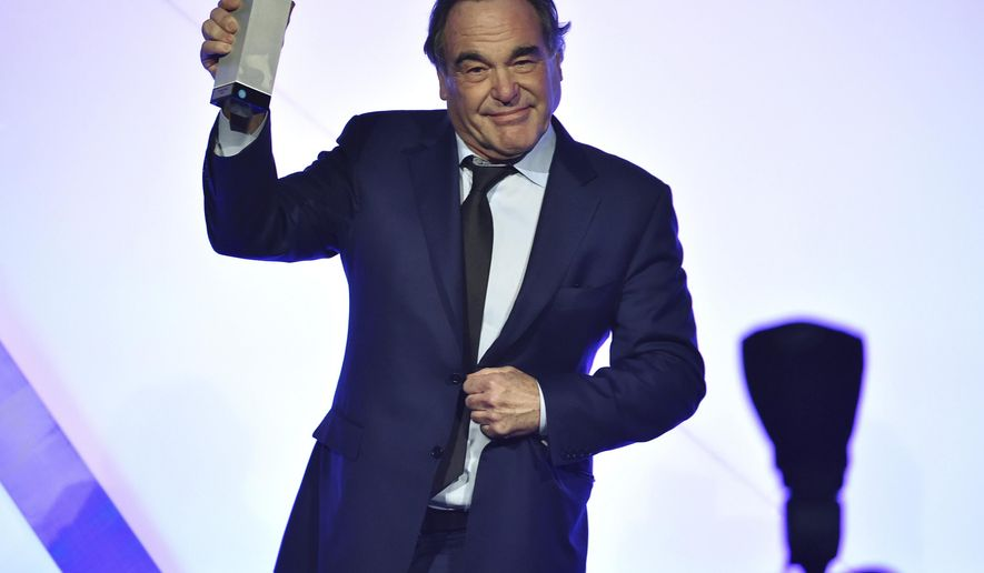 "Filmmaker Oliver Stone accepts the IFP ""Tribute"" award at the 26th Annual Gotham Independent Film Awards at Cipriani Wall Street on Monday, Nov. 28, 2016, in New York. (Photo by Evan Agostini/Invision/AP)"