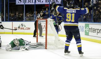 CORRECTS TO OVERTIME INSTEAD OF THIRD PERIOD - St. Louis Blues' Vladimir Tarasenko (91), of Russia, celebrates after scoring a goal past Dallas Stars goalie Antti Niemi, left, of Finland, during overtime of an NHL hockey game Monday, Nov. 28, 2016, in St. Louis. The Blues won 4-3 in overtime. (AP Photo/Jeff Roberson)