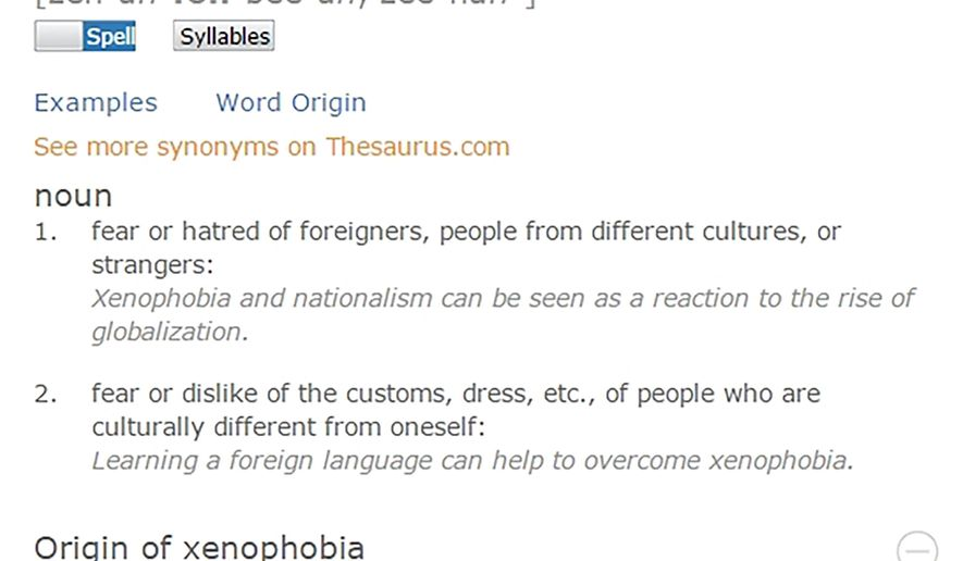 "This screen image released by Dictionary.com shows the definition of xenophobia, named as word of the year. Searches for xenophobia on the site increased by 938 percent from June 22 to June 24, Solomon said. Lookups spiked again that month after President Obama's June 29 speech in which he insisted that Donald Trump's campaign rhetoric was not a measure of ""populism,"" but rather ""nativism, or xenophobia, or worse."" (Dictionary.com via AP)"