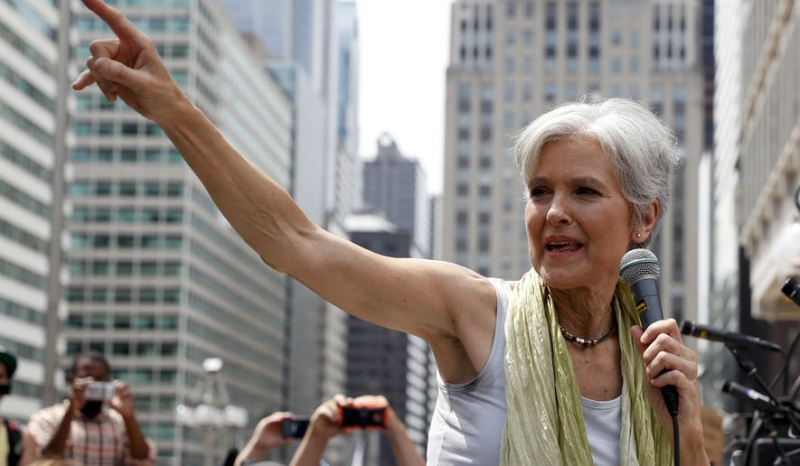 Green Party presidential nominee Jill Stein appears at a rally in Philadelphia in July. (John Minchillo/AP)