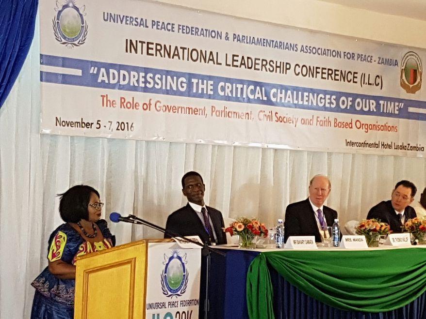 Evelyn Manda addresses the ILC in Lusaka, Zambia in November 2016.