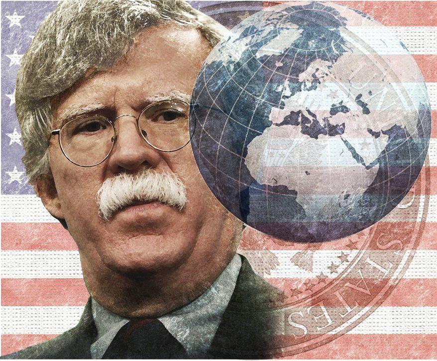 Illustration of John Bolton by Alexander Hunter/The Washington Times