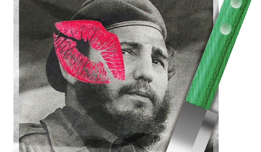 Illustration on the liberal plaudits for Fidel Castro by Alexander Hunter/The Washington Times