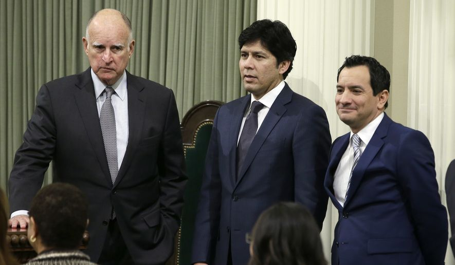 FILE - In this Monday March 7, 2016 file photo, California Gov. Jerry Brown, left, Senate President Pro Tem Kevin de Leon, D-Los Angeles, center, and Assembly Speaker Anthony Rendon, D-Paramount, are seen at the Capitol in Sacramento, Calif. With control of two-thirds of the seats in both houses of the state legislature, as well as the governor's office, Democrats will have the theoretical power to raise taxes, ignore legislative rules, put constitutional amendments on the ballot or pass emergency legislation that takes effect immediately. (AP Photo/Rich Pedroncelli, file)