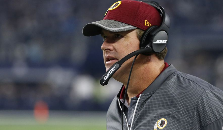 Washington Redskins head coach Jay Gruden watches play against the Dallas Cowboys in an NFL football game, Thursday, Nov. 24, 2016, in Arlington, Texas. (AP Photo/Michael Ainsworth)