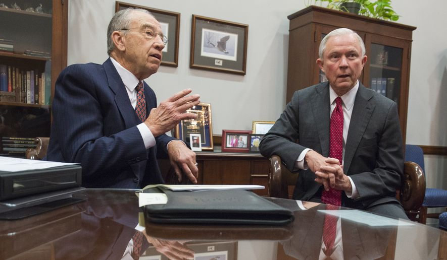 Sen. Charles Grassley, R-Iowa, Chairman of the Senate Judiciary Committee, meets with Attorney General nominee Sen. Jeff Sessions, R-Ala., on Tuesday, Nov. 29, 2016 in Washington. (AP Photo/Molly Riley)