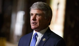 Rep. Michael McCaul, Texas Republican, talks with reporters after a meeting with President-elect Donald Trump at Trump Tower in New York on Nov. 29, 2016. (Associated Press) **FILE**