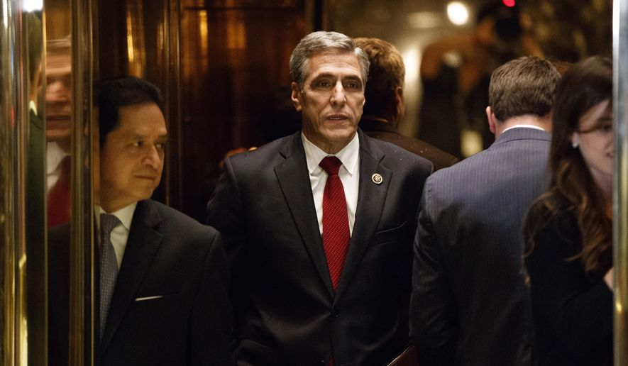Rep. Lou Barletta, R-Pa., gets on an elevator after arriving for a meeting with President-elect Donald Trump at Trump Tower, Tuesday, Nov. 29, 2016, in New York. (AP Photo/Evan Vucci) ** FILE **