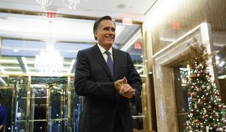 Former Republican presidential nominee Mitt Romney talks with reporters after eating dinner with President-elect Donald Trump at Jean-Georges restaurant, Tuesday, Nov. 29, 2016, in New York. (AP Photo/Evan Vucci)