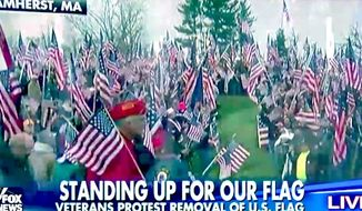 Nearly 1,000 veterans arrived in Amherst, Massachusetts, on Sunday, Nov. 27, 2016, to protest Hampshire College's decision to remove the American flag from campus. (Fox News screenshot)