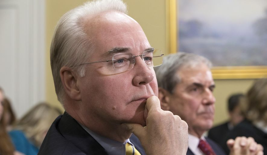 FILE - In this Jan. 5, 2016, file photo, Rep. Tom Price, R-Ga., chairman of the House Budget Committee appears before the Rules Committee, joined at right by Rep. John Yarmuth, D-Ky., on Capitol Hill in Washington.  Republicans hope that as President-elect Donald Trump's choice to run the Department of Health and Human Services, Price will preside over the dismantlement of President Barack Obama's signature health care law.    (AP Photo/J. Scott Applewhite, File)