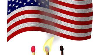 Illustration on flag burning by Alexander Hunter/The Washington Times