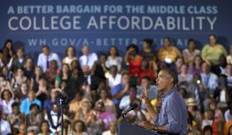 President Barack Obama speaks at Henninger High School in Syracuse, N.Y., Thursday, Aug. 22, 2013. Obama is pitching an overhaul of federal student aid that would link dollars to the Education Department's ratings of colleges and universities. His proposal would give students at better-rated schools cheaper loans or bigger grants.  (AP Photo/Jacquelyn Martin)