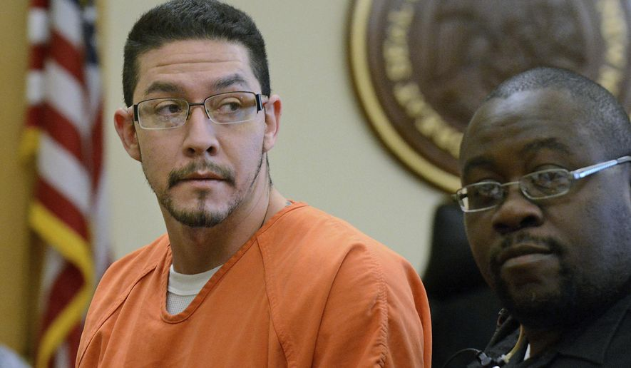 FILE - In this Nov. 13, 2015 file photo, Tony Torrez looks back as he is escorted out of Judge Stan Whitaker's courtroom after being denied bail during a hearing in Albuquerque, N.M. Torrez, the man charged in a road rage shooting that killed a 4-year-old Albuquerque girl and sent shockwaves through the state last year, has agreed to plead guilty to second-degree murder under an agreement with prosecutors that calls for him to serve a 16-year sentence, his attorneys said Wednesday, Nov. 30, 2016.   (Jim Thompson/The Albuquerque Journal via AP, File)