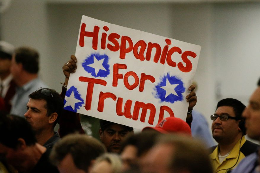 A Hispanic supporter holds up a sign for then-Republican presidential candidate Donald Trump during a rally at the Anaheim Convention Center, Wednesday, May 25, 2016, in Anaheim, Calif. (AP Photo/Jae C. Hong) ** FILE **