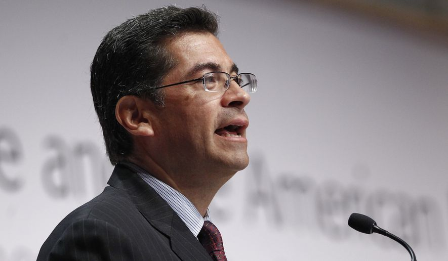 In this Sept. 13, 2010 file photo Rep. Xavier Becerra, D-Calif., addresses the Congressional Hispanic Caucus Institute in Washington. California Gov. Jerry Brown has chosen Becerra to succeed Kamala Harris as state attorney general. (AP Photo/Charles Dharapak, File)