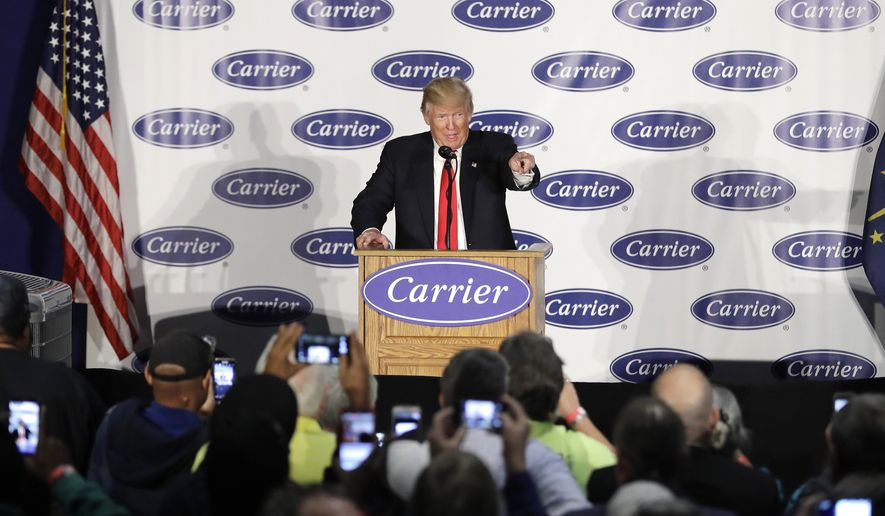 President-elect Donald Trump speaks at Carrier Corp Thursday, Dec. 1, 2016, in Indianapolis. (AP Photo/Darron Cummings)