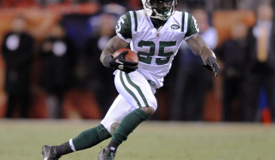FILE - In this Nov. 17, 2011, file photo, New York Jets running back Joe McKnight (25) runs during an NFL football game against the Denver Broncos in Denver. Former NFL player McKnight has been shot to death following an argument at an intersection with another motorist. Jefferson (La.) Parish Sheriff Newell Normand says it happened about Thursday afternoon, Dec. 1, 2016, in Terrytown, a suburb of New Orleans. (AP Photo/Jack Dempsey, File)