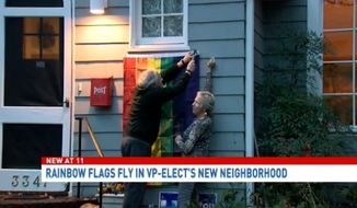 Vice President-elect Mike Pence's new neighbors in the town of Chevy Chase, Maryland, are flying rainbow LGBT flags to protest what they call his anti-gay policy positions. (WJLA)
