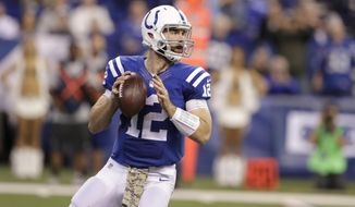 FILE - In this Sunday, Nov. 20, 2016 file photo, Indianapolis Colts quarterback Andrew Luck (12) throws against the Tennessee Titans during the second half of an NFL football game in Indianapolis. The AFC South is up for grabs and the Indianapolis Colts are hanging in despite an up-and-down season. The playoff run begins now for Andrew Luck and Co., with a game Monday night, Dec. 5, 2016 against the lowly New York Jets, who are simply playing out the string in a disappointing season. (AP Photo/Darron Cummings, File)