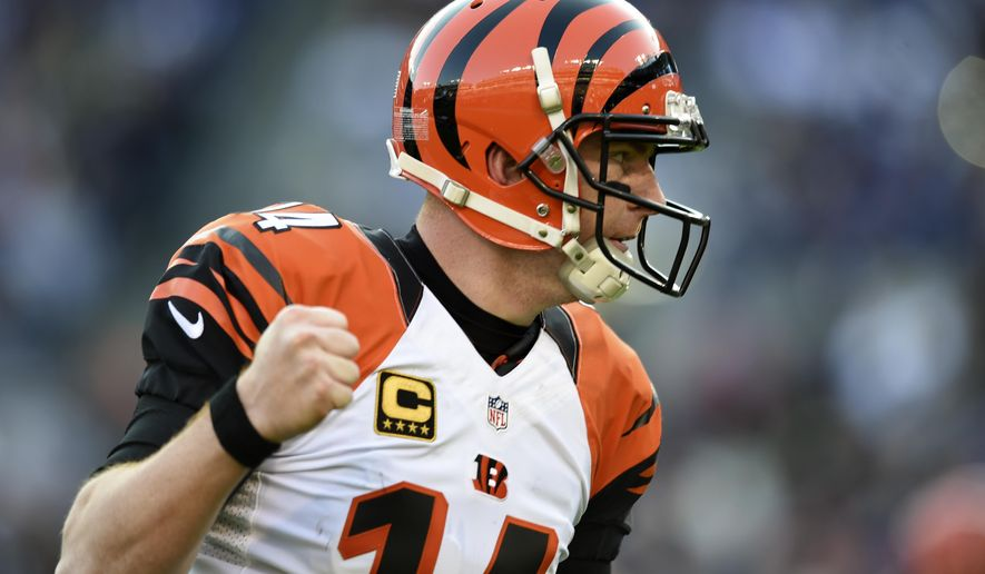 FILE - In this Sunday, Nov. 27, 2016, file photo, Cincinnati Bengals quarterback Andy Dalton (14) tight end Tyler Eifert's touchdown during the second half of an NFL football game against the Baltimore Ravens in Baltimore. Only three wins heading into December? That's a new one for Dalton and many of the Bengals. And they have company that can commiserate this weekend. (AP Photo/Gail Burton, File)