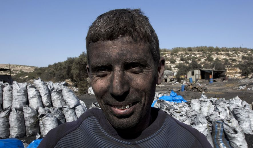 In this photo taken Monday, Nov. 21, 2016, Palestinian laborer Sami Abu Baker, 35, who has a fifteen years service in the charcoal factories, poses for a picture during a day work, in the West Bank town of Yabad, near Jenin. For years, residents of central Israel have been complaining about the air pollution emanating from nearby Palestinian factories in the West Bank and the potential health hazards they pose. But now that authorities have finally cracked down, shutting the worst offending charcoal plants, Palestinians say hundreds have been put out of work in a swift stamp of the military occupation.(AP Photo/Nasser Nasser)