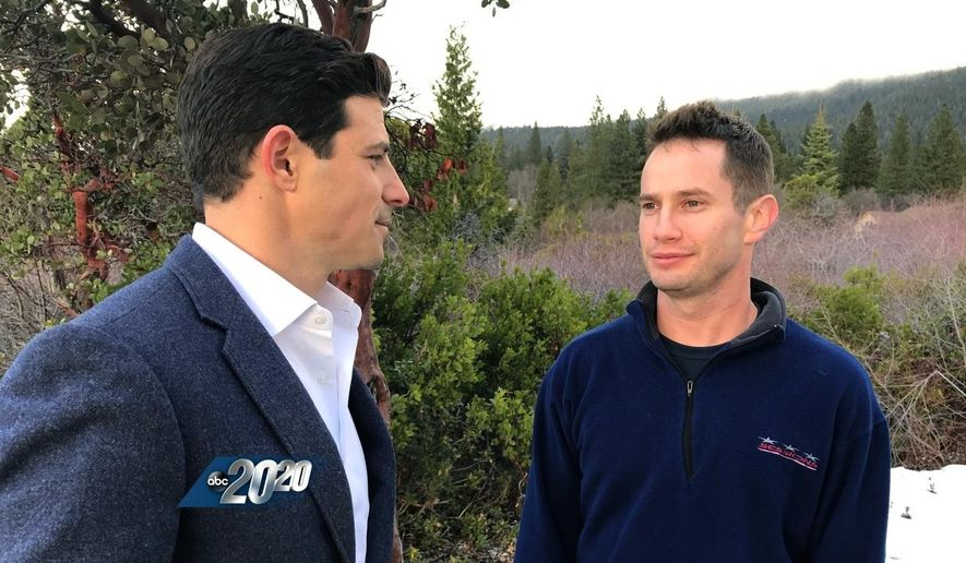 """In this undated image provided by ABC News, television anchor Matt Gutman, left, interviews Keith Papini, the husband of Sherri Papini, a California mother who went missing for three weeks, on """"20/20.""""  The interview airs Friday, Dec. 2, 2016, at 10 p.m. ET.  (ABC News via AP)"""