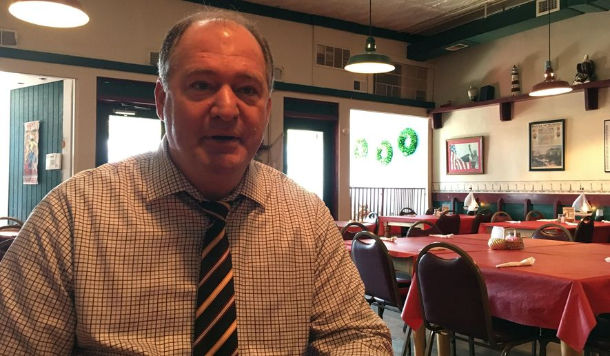 In this Monday, Nov. 21, 2016 photo, Kentucky Republican state Rep. Jeff Hoover speaks with a reporter at the Jamestown Cafe in Jamestown, Ky. Hoover will be the Speaker of the state House of Representatives when it convenes in January, the first GOP House Speaker in nearly a century. (AP Photo/Adam Beam)