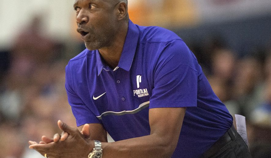 FILE  - In this Nov. 24, 2016, file photo, University of Portland coach Terry Porter reacts during the team's NCAA college basketball game against UCLA in Fullerton, Calif. Porter is in his first season at coach of the Pilots after some 17 seasons as a player in the NBA, then another 12 as a coach in the league. (Ed Crisostomo/The Orange County Register via AP, File)
