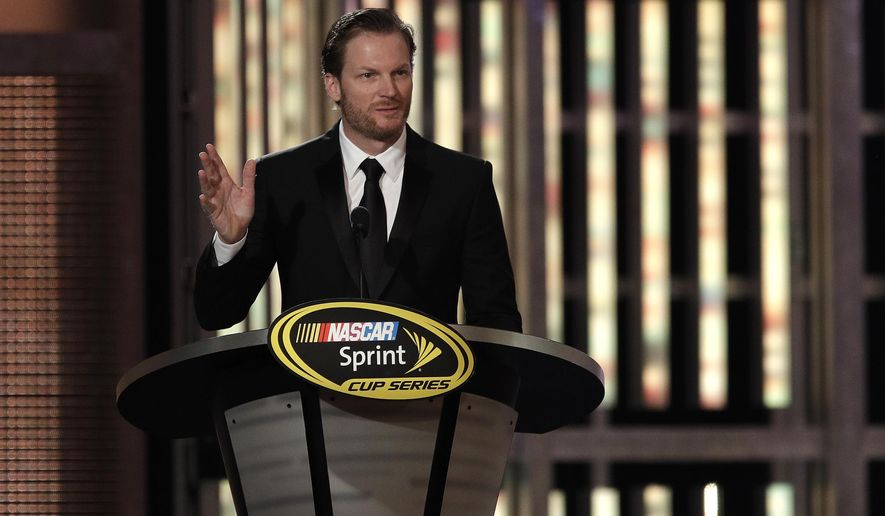 Dale Earnhardt Jr. speaks during the NASCAR Sprint Cup Series auto racing awards Friday, Dec. 2, 2016, in Las Vegas. (AP Photo/John Locher)