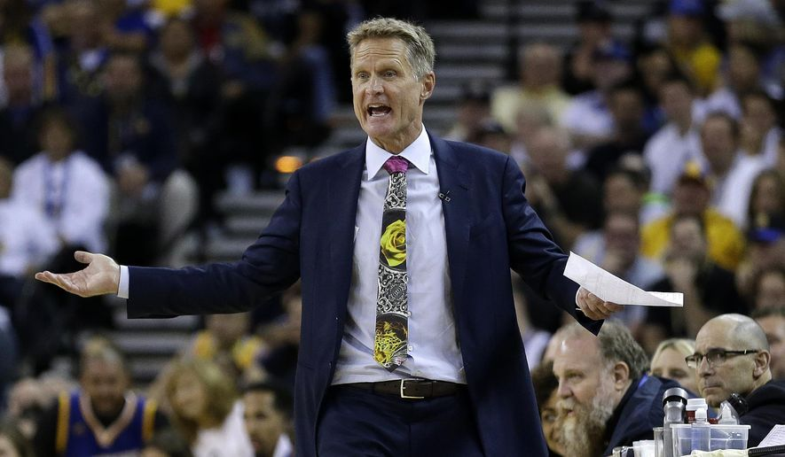 FILE - In this Oct. 25, 2016, file photo, Golden State Warriors coach Steve Kerr reacts during the team's NBA basketball game against the San Antonio Spurs in Oakland, Calif. Kerr, the reigning NBA Coach of the Year, acknowledged he tried marijuana twice in the past 18 months while dealing with debilitating back pain. Kerr told Comcast SportsNet Bay Area's Warriors Insider Podcast with Monte Poole on Friday, Dec. 2, that he used medicinal marijuana but it didn't help. (AP Photo/Ben Margot, File)