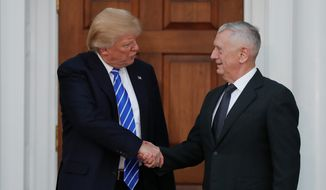 Retired Marine Corps Gen. James Mattis (right), President-elect Donald Trump's pick to lead the Department of Defense, has won bipartisan praise, but some Democrats are concerned that his recent military service disqualifies him for the job. (Associated Press Photographs)
