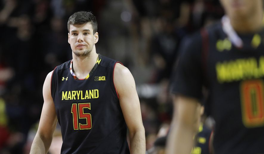 Maryland forward Michal Cekovsky, of Slovakia, stands on the court in the second half of an NCAA college basketball game against Oklahoma State, Saturday, Dec. 3, 2016, in College Park, Md. (AP Photo/Patrick Semansky)