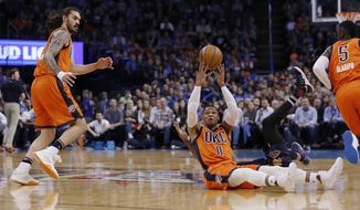 Oklahoma City Thunder guard Russell Westbrook (0) passes the ball behind and over head to Oklahoma City Thunder center Steven Adams (12) during a play against the New Orleans Pelicans in the first half of an NBA basketball game in Oklahoma City, Sunday, Dec. 4, 2016. (AP Photo/Alonzo Adams)