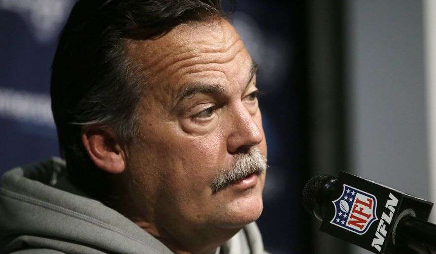 Los Angeles Rams head coach Jeff Fisher speaks to the media following an NFL football game against the New England Patriots, Sunday, Dec. 4, 2016, in Foxborough, Mass. (AP Photo/Steven Senne)