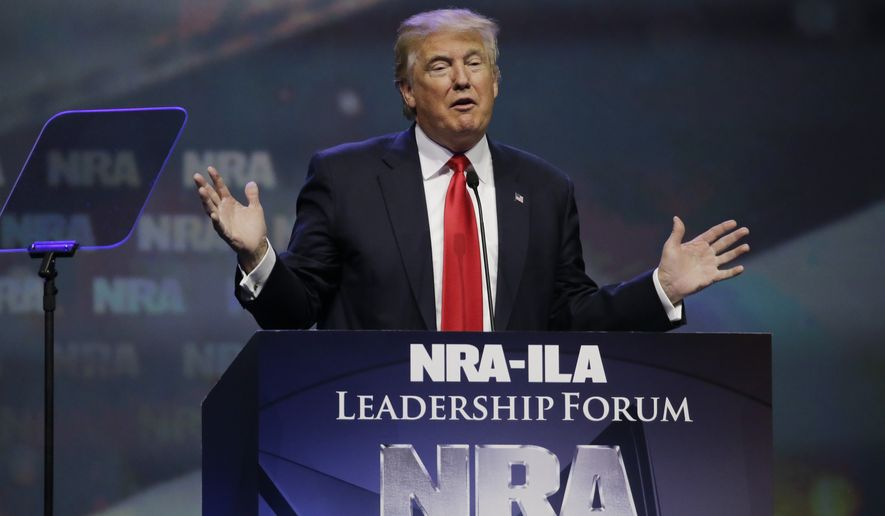 In this May 20, 2016, photo, then-Republican presidential candidate Donald Trump speaks at the National Rifle Association convention in Louisville, Ky. (Associated Press) **FILE**