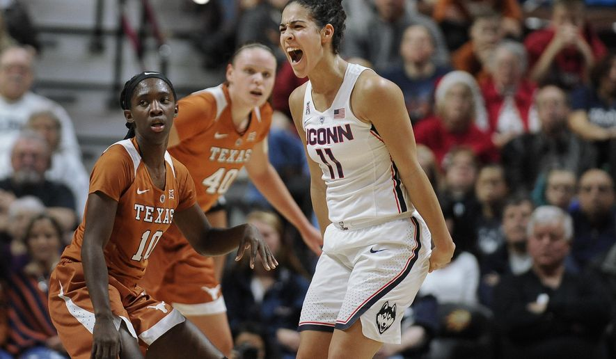 Connecticut's Kia Nurse reacts in the first half of an NCAA college basketball game against Texas, Sunday, Dec. 4, 2016, in Uncasville, Conn. (AP Photo/Jessica Hill)