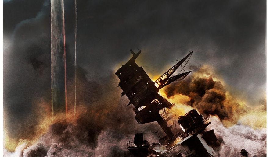Illustration on the Pearl harbor attack by Alexander Hunter/The Washington Times