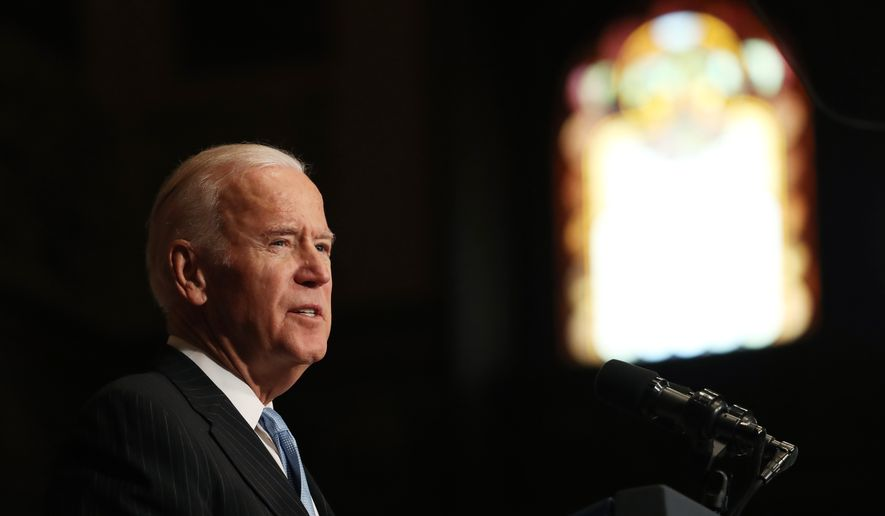 Vice President Joe Biden speaks about sound financial sector regulation at Georgetown University in Washington on Monday, Dec. 5, 2016. (Associated Press) **FILE**