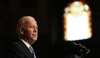 Vice President Joe Biden speaks about sound financial sector regulation at Georgetown University in Washington on Monday, Dec. 5, 2016. (Associated Press) **FILE**