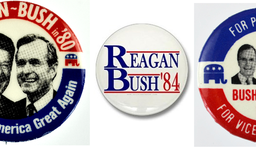 GOP campaign buttons from 1980, 1984, and 1988. Images from the common domain.